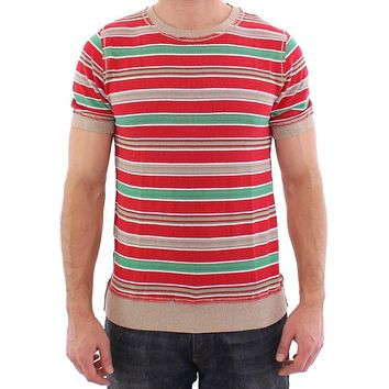 Multicolor striped crewneck t-shirt