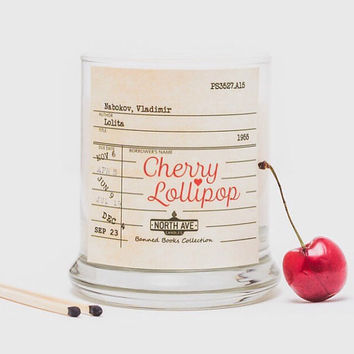 Cherry Lollipop Scented Candle / Inspired by Lolita / Part of North Ave Candles' Banned Books Collection