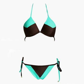 2 Two Piece Bikini Swimwear Women New Patchwork splicing sexy ladies  Bikini body swimsuit  summer bathing suit female 2018 KO_21_2