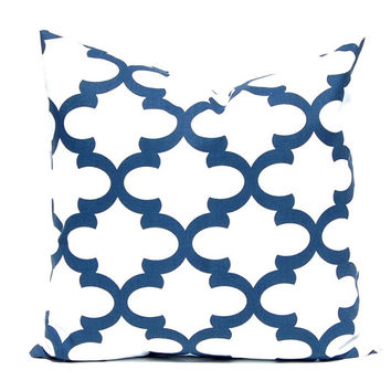 Navy Blue Pillow Cover, Throw Pillow Cover, Decorative Pillow Cover One Navy Blue Fynn Trellis, Blue Cushions, Nautical Decor, Beach Decor