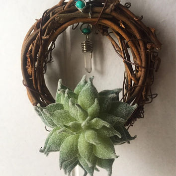 Succulent and Crystal Point Wreath