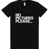 """No pictures please""-Female Black T-Shirt"
