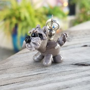 Standing Gray Pup Hand Sculpted Glass Charm