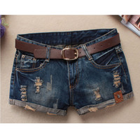 LAUWOO 2017 Summer Shorts Women Vintage Club jeans Denim Shorts Sexy Hip Hop Skull Patch Plus Size Ripped Shorts Without Belt