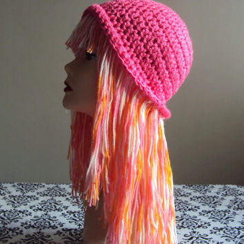 Wig Hat Yarn Hat Crochet Funky Hat Short Braid Pigtails Festival Hat Hippie Hat Spring Summer Hat Women Fashion Accessories Girly Gift Ideas