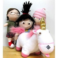 "Despicable Me The Movie Official 8"" Inch Soft Plush Toy Figures Agnes Edith Margo w/ Fluffy Unicorn Doll Set"