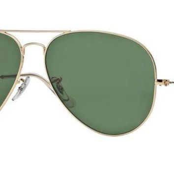 Kalete Brand New Ray-Ban Sunglasses RB 3026 L2846 Gold/Green Size 62 Men