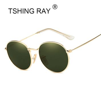 TSHING RAY Small Round Sunglasses Women Men Classic Brand Designer Metal Frame Mirror Sun Glasses Vintage Female UV400 Rays