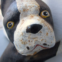 RARE Vintage Cast Iron Black White Boston Terrier Doorstop Dog Holding Door Open or bookend