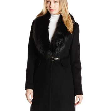 Ivanka Trump Women's Single Breasted Wool Coat with Removable Faux Fur Collar, Black, 6
