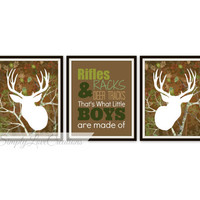 Rifles, Racks & Deer Tracks Print - Camo Deer Print // Boy's Room Decor // Camo Nursery // Deer Print // Deer Hunting Art - Set of 3 Prints