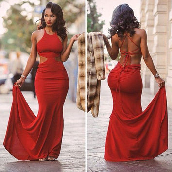 Cheap 2016 Sexy Red Mermaid Prom Dresses Spaghetti Straps Sweep Train Backless Prom Party Gowns Vestidos