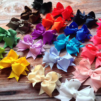 Hair Bows- Set of 6- Ribbon Bow- Hair Clip- 3.5 Inch Bows You Choose the Colors