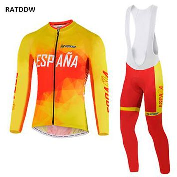 Espana Winter Cycling Clothing Men Winter Fleece Thermal Warm Cycling Jersey Spain Bicycle Bike Jerseys Ciclismo Maillot