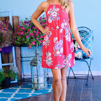 Daniella Floral High Neck Dress with Lace Up Back : Fushia