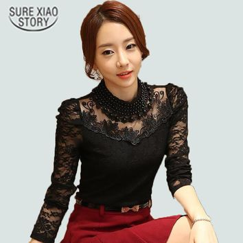 2016 New fashion Plus size Women's Shirts Stand Pearl Collar Lace Crochet Blouse Shirts long sleeve sexy tops Women clothing 3XL