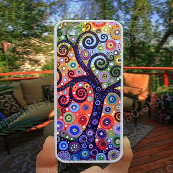abstract tree landscape painting phone case 4/4s case iphone 5/5s/5c case samsung galaxy s3/s4 case galaxy S5 case Waterproof gift case 492