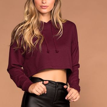 Fast Track Burgundy Crop Sweatshirt Hoodie Top