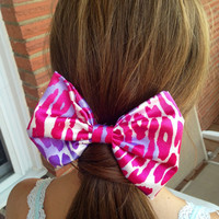 Large Lisa Frank Style Leopard Bow by kristenmariebowtique on Etsy
