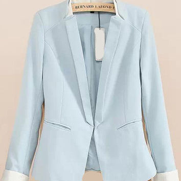 Blue Lapel Long Sleeve Fitted Blazer