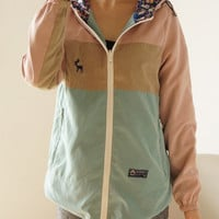 Hooded Color Block Winter Jacket