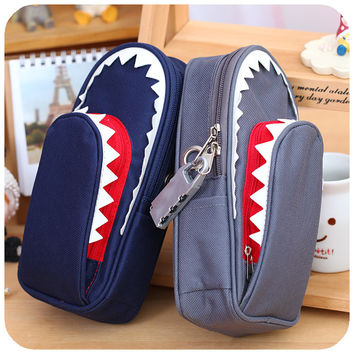 Boys Girls Personality Stationery Creative Shark Large Capacity Canvas School Pencil Case Pencil Bag Pen Case with Code Lock