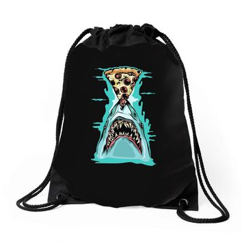 pizza shark graphic Drawstring Bags