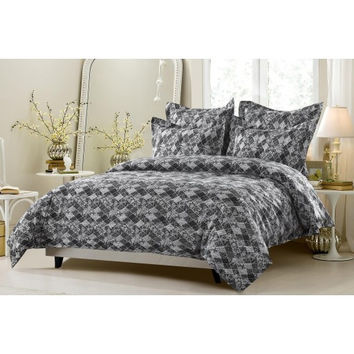 6pc Black & White Floral Diamond Patchwork Bedding Set-Includes Comforter and Duvet Cover - Style # 1047 C - Cherry Hill Collection in King/Cal King