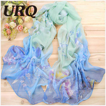 Fashion print animal scarf scarves chiffon silk long autumn muslim Wrap Sheer Georgette scarf Q5A16110