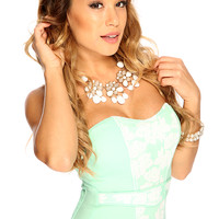 Mint Floral Attached Belt Sweetheart Sheering Back Sexy Corset