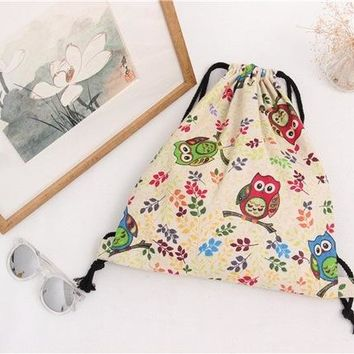 Student Backpack Children YILEBrand New Cotton Canvas Draw String Girl Student Backpack Travel Luggage Shoes Bag Printed Owls Olive Branch Bird Cage B070 AT_49_3