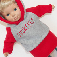 bitty baby doll clothes girl doll or 15 inch twin, grey and red Buckeyes football hoodie hooded sweatshirt & red skirt. Adorabledolldesigns