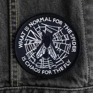 What is Normal Patch by Life Club - Patch denim jacket patch, morticia addams, the addams family, embroidered patch, punk patch, spiderweb