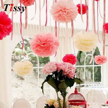 10PCS 4inch(10CM) Handmade Tissue Paper Pom Poms Paper Flower Ball Pompom Home Garden/Wedding Birthday Party Decoration Supplies