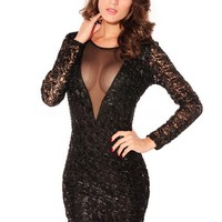 Sexy Black Hollowed-out One-piece Dress at Online Apparel Store Gofavor