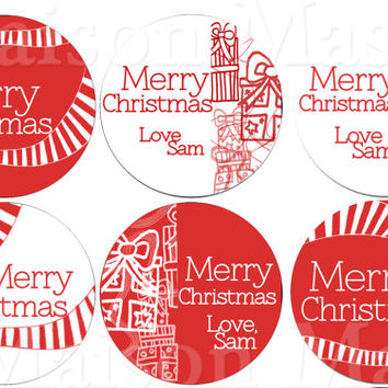 "Assorted Red and White Christmas Labels or Happy Holidays Stickers for Gift Tags / Mason Jars - 2"" & 2.5"" round tags"