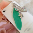 Mint Green Feather Key to your Heart Phone Plug Earphone Plug iPhone Plug