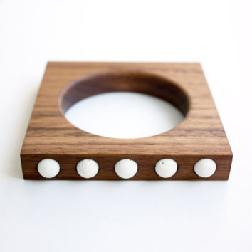 "Wood and White Stone Bracelet from the ""Palette"" collection - Norwegian Wood x Devin Barrette Collaboration"
