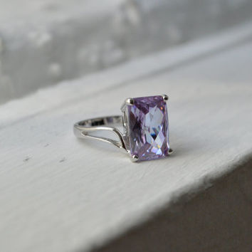 Lavender Amethyst Ring - 5ct Cushion Cut Ring - Sterling Silver Ring - Promise Ring - Wedding Ring - Engagement Ring - February Birthstone