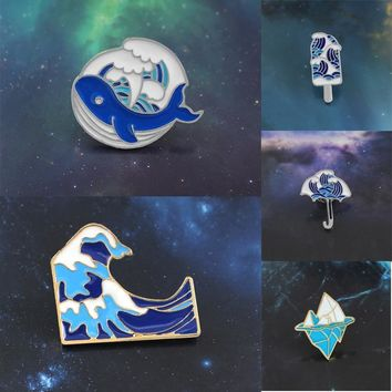 Wave Series Brooch Blue Whale Ice cream Umbrella Wave Iceberg Enamel Pin Cartoon Costume Hat Badge Friends and Child Gifts