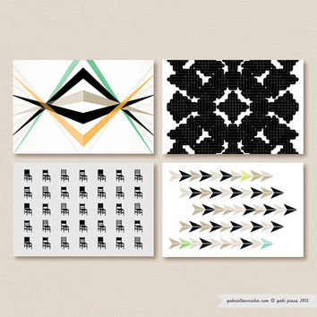 Postcard Set  Black by gabipress on Etsy