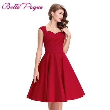 Belle Poque 2017 Red Green Women Rockabilly Dresses Cotton Sleeveless Summer Vintage 50s Style Vestidos Casual Party Tea Dresses