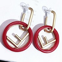 FENDI 925 Silver Popular Women Personality F Letter Circular Pendant Earrings Accessories Jewelry Red