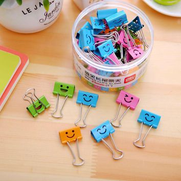 40 pcs/lot 19mm Cute Kawaii Small Colorful Face Design Clips Purse Dovetail Paper Clip Metal Binder School Office Supplies