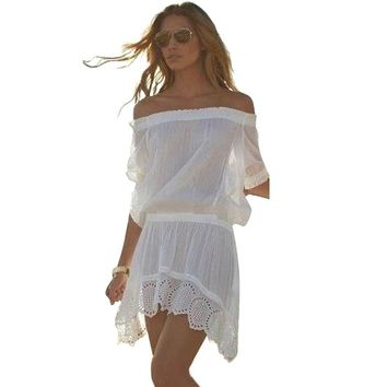 Women Beach Dress Sexy Off Shoulder Lace Embroidered