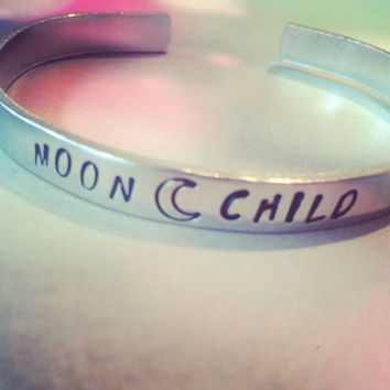 Moon child  aluminum bracelet   1/4 inch wide