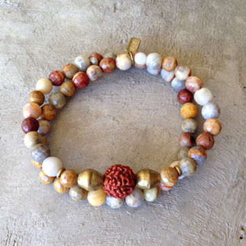 Crazy Lace Agate and Rudraksha Guru Bead 'Joy and Healing' 54 Bead Wrap Bracelet