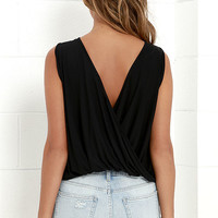 Tango Twist Black Sleeveless Top