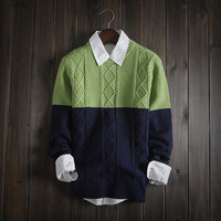 Mens Warm Slim Knitwear Color Matching Sweater