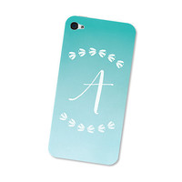 Monogram - Calligraphy iPhone 4 Skin or iPhone 4S Skin Cell Phone Decal Personalized with Initials in Turquoise Blue Ombre with Leaves